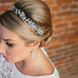 Swarovski bridal headband boho floral wedding